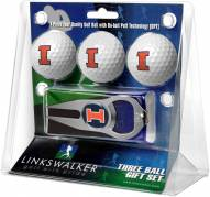 Illinois Fighting Illini Golf Ball Gift Pack with Hat Trick Divot Tool