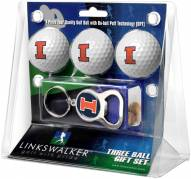 Illinois Fighting Illini Golf Ball Gift Pack with Key Chain