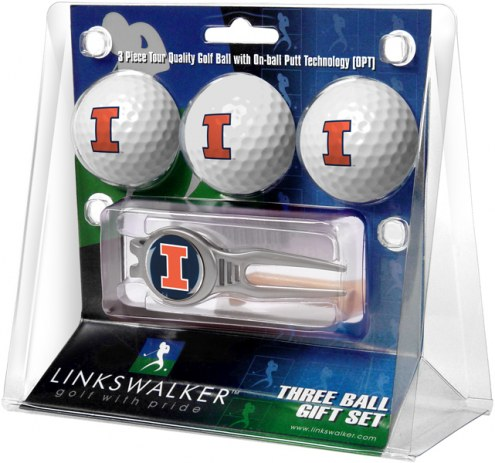 Illinois Fighting Illini Golf Ball Gift Pack with Kool Tool