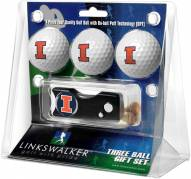 Illinois Fighting Illini Golf Ball Gift Pack with Spring Action Divot Tool
