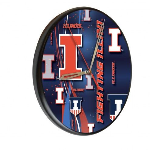 Illinois Fighting Illini Digitally Printed Wood Clock