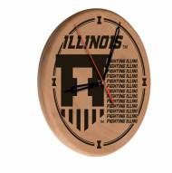 Illinois Fighting Illini Laser Engraved Wood Clock