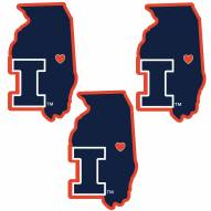 Illinois Fighting Illini Home State Decal - 3 Pack