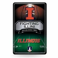 Illinois Fighting Illini Large Embossed Metal Wall Sign