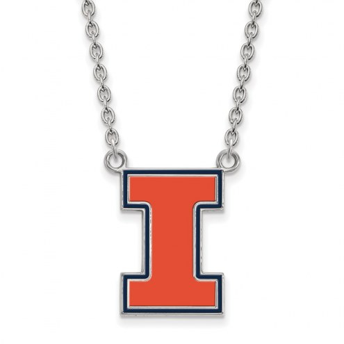 Illinois Fighting Illini Sterling Silver Large Enameled Pendant Necklace