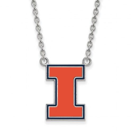 Illinois Fighting Illini Sterling Silver Large Enameled Pendant Necklace