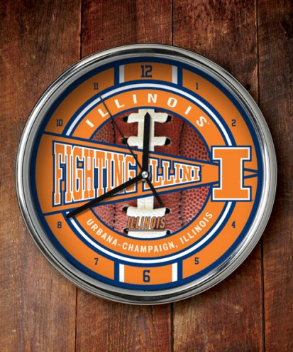 Illinois Fighting Illini NCAA Chrome Wall Clock
