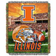 Illinois Fighting Illini NCAA Woven Tapestry Throw / Blanket