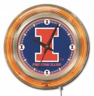 Illinois Fighting Illini Neon Clock