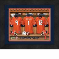 Illinois Fighting Illini Personalized Locker Room 13 x 16 Framed Photograph