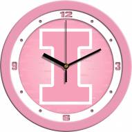 Illinois Fighting Illini Pink Wall Clock