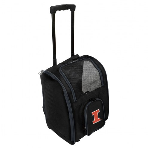 Illinois Fighting Illini Premium Pet Carrier with Wheels