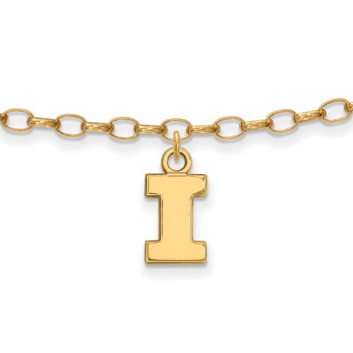 Illinois Fighting Illini Sterling Silver Anklet