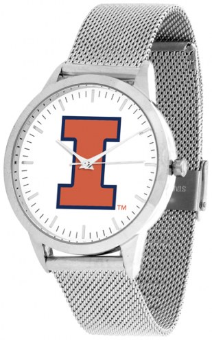 Illinois Fighting Illini Silver Mesh Statement Watch