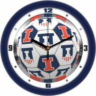Illinois Fighting Illini Soccer Wall Clock