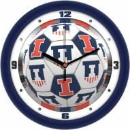 Illinois Fighting Illini Soccer Wall Clock