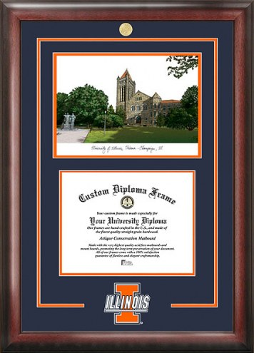 Illinois Fighting Illini Spirit Diploma Frame with Campus Image
