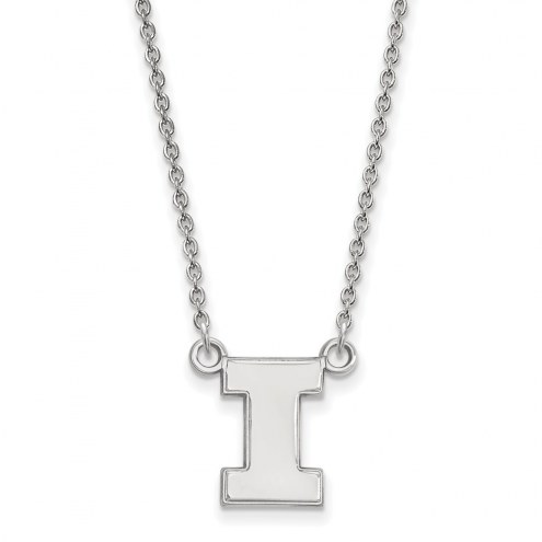 Illinois Fighting Illini Sterling Silver Small Pendant Necklace