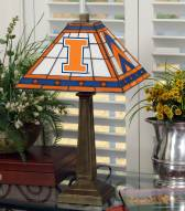 Illinois Fighting Illini Stained Glass Mission Table Lamp