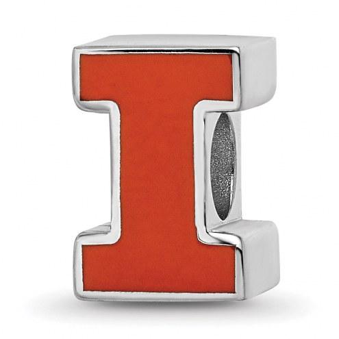 Illinois Fighting Illini Sterling Silver Enameled Bead