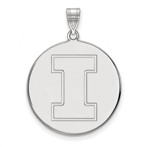 Illinois Fighting Illini Sterling Silver Extra Large Disc Pendant