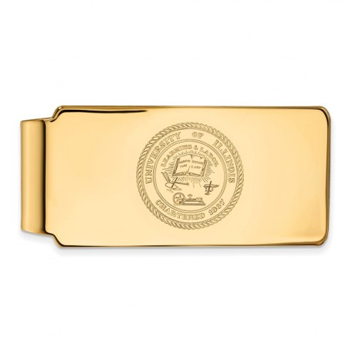 Illinois Fighting Illini Sterling Silver Gold Plated Crest Money Clip