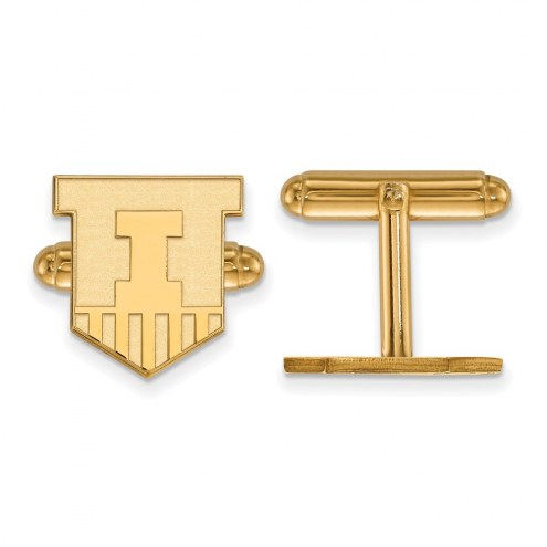 Illinois Fighting Illini Sterling Silver Gold Plated Cuff Links