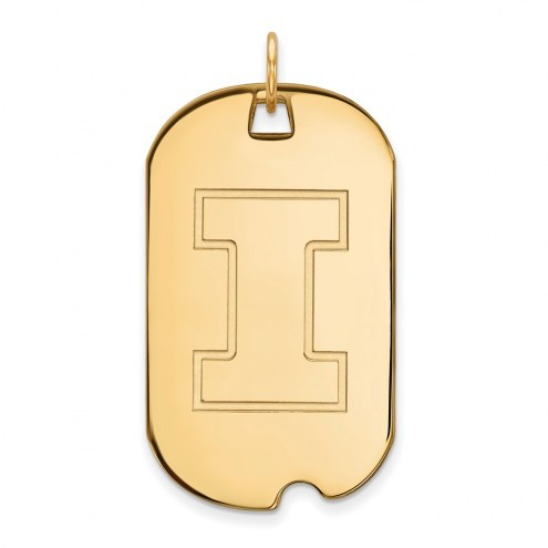 Illinois Fighting Illini Sterling Silver Gold Plated Large Dog Tag
