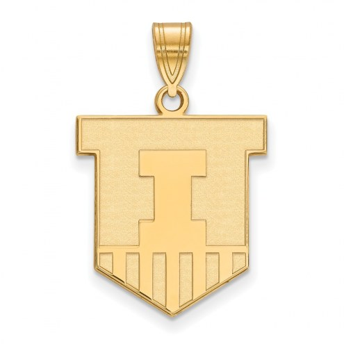Illinois Fighting Illini Sterling Silver Gold Plated Large Pendant