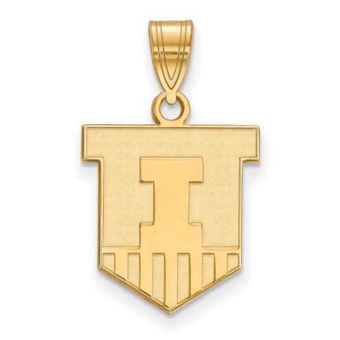 Illinois Fighting Illini Sterling Silver Gold Plated Medium Pendant