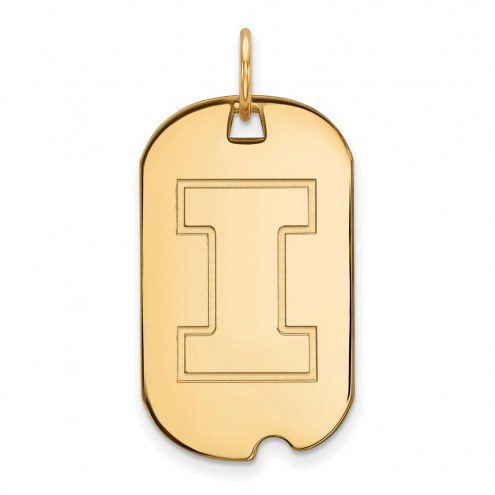 Illinois Fighting Illini Sterling Silver Gold Plated Small Dog Tag