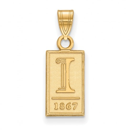 Illinois Fighting Illini Sterling Silver Gold Plated Small Pendant