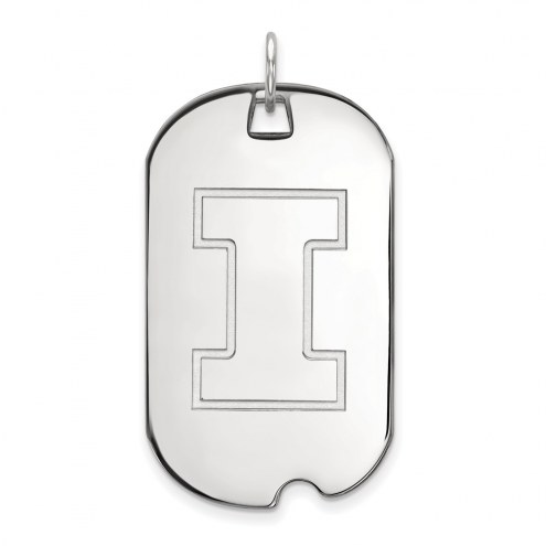 Illinois Fighting Illini Sterling Silver Large Dog Tag