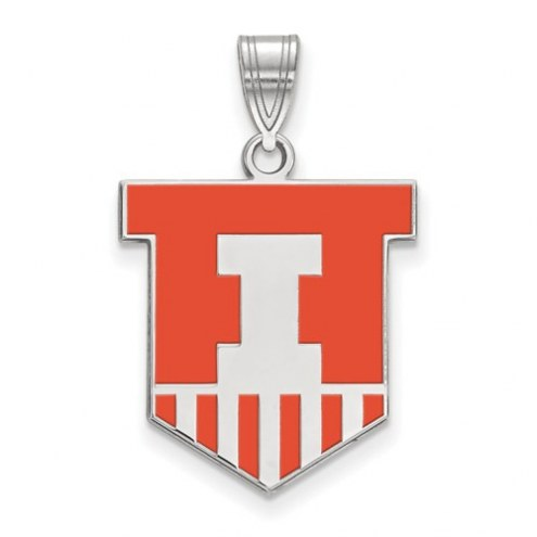 Illinois Fighting Illini Sterling Silver Large Enameled Pendant