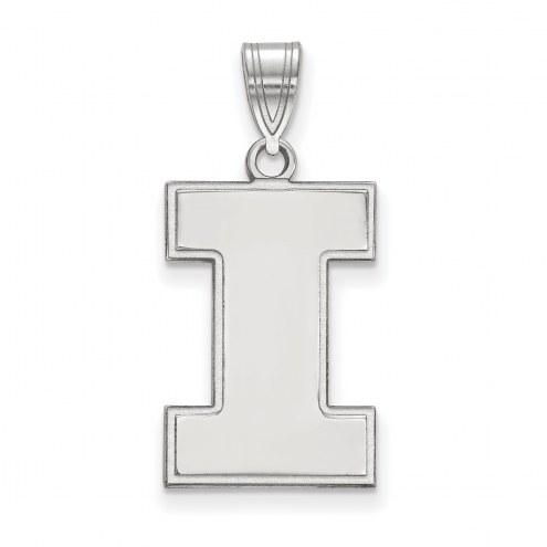 Illinois Fighting Illini Sterling Silver Large Pendant