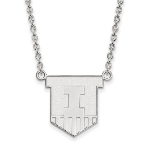 Illinois Fighting Illini Sterling Silver Large Pendant Necklace
