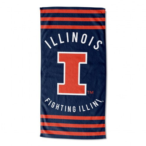 Illinois Fighting Illini Stripes Beach Towel