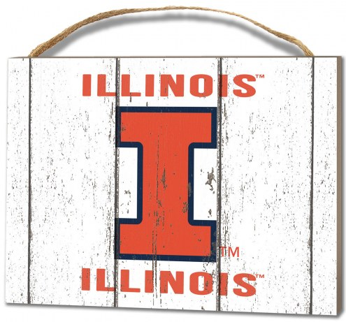 Illinois Fighting Illini Weathered Logo Small Plaque
