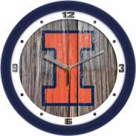 Illinois Fighting Illini Weathered Wood Wall Clock