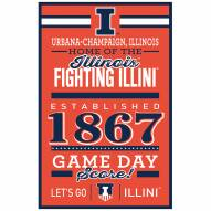 Illinois Fighting Illini Established Wood Sign