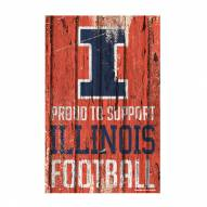 Illinois Fighting Illini Proud to Support Wood Sign