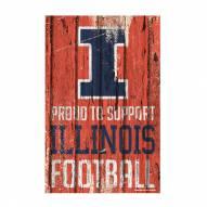 Illinois Fighting Illini Proud to Support Wood Sign