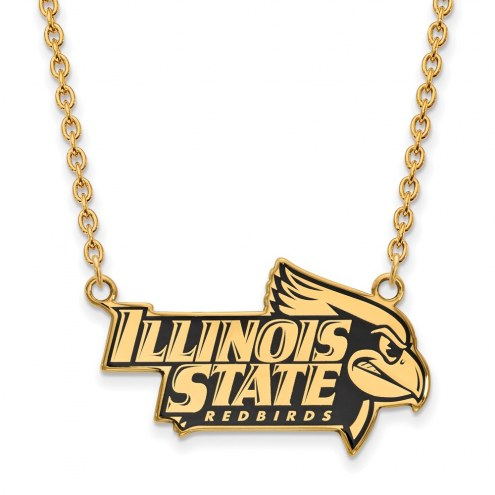 Illinois State Redbirds Sterling Silver Gold Plated Large Enameled Pendant Necklace