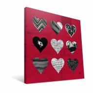 "Illinois State Redbirds 12"" x 12"" Hearts Canvas Print"