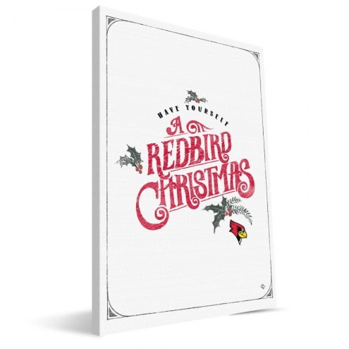 "Illinois State Redbirds 8"" x 12"" Merry Little Christmas Canvas Print"