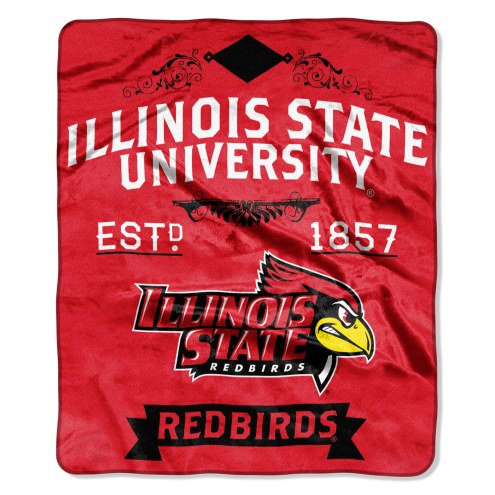 Illinois State Redbirds Label Raschel Throw Blanket