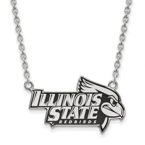 Illinois State Redbirds Sterling Silver Large Enameled Pendant Necklace