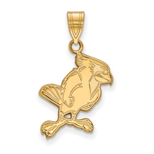 Illinois State Redbirds Sterling Silver Gold Plated Large Pendant