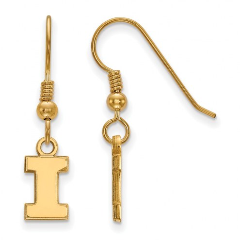 Illinois Fighting Illini NCAA Sterling Silver Gold Plated Extra Small Dangle Earrings