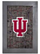 """Indiana Hoosiers 11"""" x 19"""" City Map Framed Sign"""